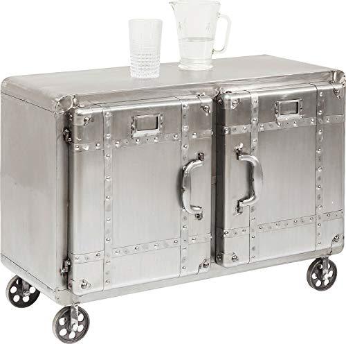 Kare Design Kommode Buster, 2-türig, außergewöhnliches Sideboard mit 2 Türen auf Rollen im Industrial-Style, stylische Kommode Alu (B/H/T) 87x47,5x66,5cm