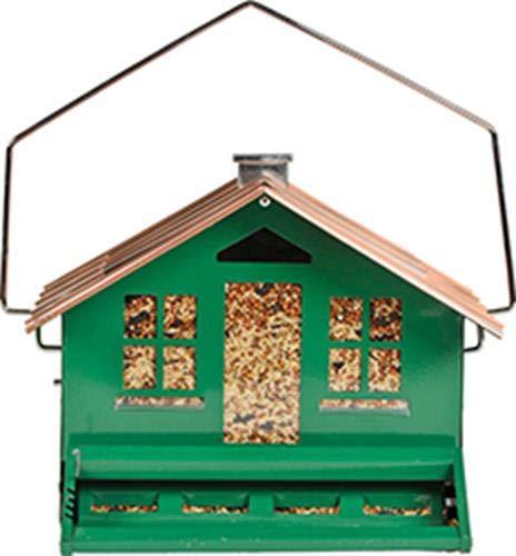 Perky-Pet Comedero para pájaros con 6 Puntos de Acceso - Alimentador Decorativo Tubo de Cobre con Motivos Naturales y Colgador para su jardín - Capacidad de 400g de Semillas #339