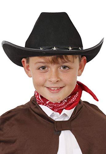 ILOVEFANCYDRESS Sombrero DE Vaquero Negro para NIÑOS - Sombreros DE Vaquero Unisex con Tachuelas DE Estrella