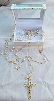 Gold Chain with Faux Pearls and Crystal Beads Wedding Lasso with Gold Cross Decorated with Crystals Lasso para Boda En Color Oro Dorado Perlas Blancas Gift Favor Laso Mancuerna with Gift Box
