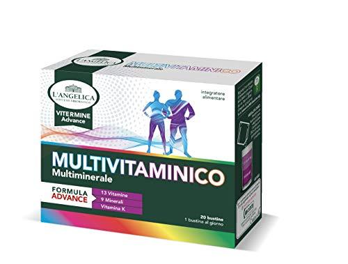 L'Angelica Integratore Multivitaminico con 13 Vitamine, 9 Minerali e Vitamina K, Recupero ed Energia, Vegano, senza Glutine, senza Lattosio - Formato: 20 Bustine Effervescenti