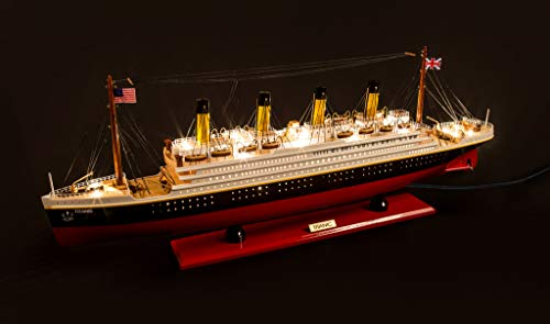 Seacraft Gallery Titanic Model Ship with LED Lights 31'- 3D RMS Titanic Model Boat - Assembled Ship Model of The Titanic - Titanic Toys Model Ship Boat – Titanic Scale Models - Titanic boat Wood Model