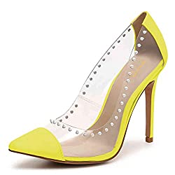 Rhinestone Studded Pointy Toe Mid Spike Heels In Yellow