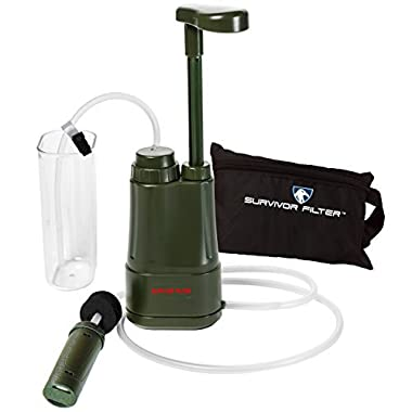 Survivor Filter PRO – Virus and Heavy Metal Tested 0.01 Micron Portable Water Filter for Camping, Hiking and Emergency. 3 Stages - 2 Cleanable 100,000L UF Membranes and a Carbon Filter.