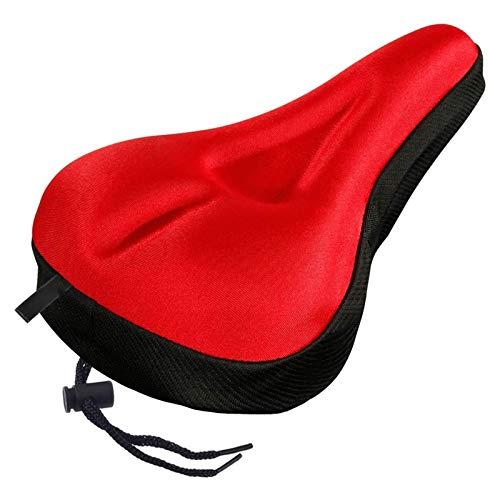 SHUILV Cubierta de Asiento de Bicicleta de Gel - Cubierta de Asiento de Bicicleta de Gel Suave Extra - Cojín de Silla de Montar con Agua con Agua y Cubierta Resistente al Polvo (Color : Red)