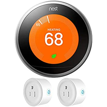 Nest (T3007ES) Learning Thermostat 3rd Gen, Stainless Steel with Deco Gear 2 Pack Wifi Smart Plug