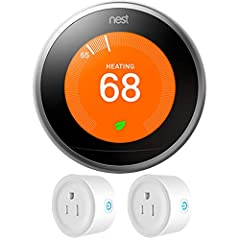 """Meet the 3rd gen Nest Learning Thermostat. It has new rings and a big, sharp display. And it saves energy. That's the most beautiful part. Nest Learning Thermostat 3rd Gen (Stainless Steel) Control Temperature from Smart Devices, 2.1"""" (480 x 480) LCD..."""