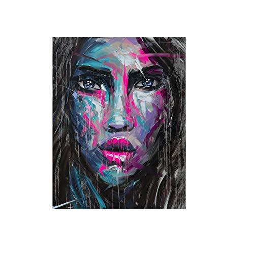 Geiqianjiumai Abstrakte Mädchen Kunst Bild Leinwand Malerei Wohnzimmer Kunst Wanddekoration rahmenlose Malerei 50X70CM