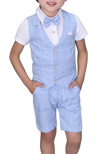 Traje - para niño Boda de Verano Mixta de algodón/Lino Mezcla de Chaleco Corto niño Trajes de página, Chaleco (Azul, tamaño de la Etiqueta: 120)