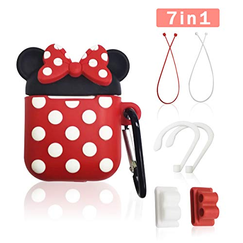 Airpod Case Cover, GONJOY 7 in 1 Slicone Airpod 2/1 Accessorie Set Protective Cover, Cute Funny Cartoon AirPods Anime Case for Girls Women Compatible with Airpods Holder/Ear Hooks/Keychain