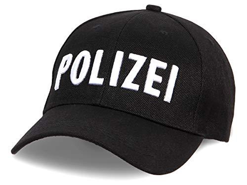 Shirt-Panda Herren & Damen Polizei Cap 3D-Stick - Baseballmütze Verkleidung Kostüm Basecap Police Sonnenschutz Kappe Cop Schwarz (Stick Weiß) One Size