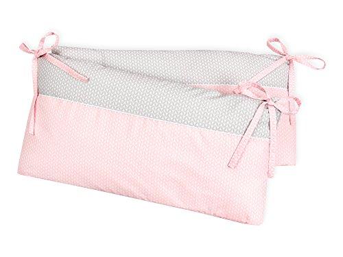 KraftKids Nestchen kleine Blätter rosa auf Weiß, Bett-Umrandung für Baby-Bett pass. f. Bettgröße 120 x 60 cm, Baby-Nest mit separatem Außenbezug