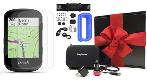 Garmin Edge 530 Sensor Bundle Gift Box | with Speed/Cadence, Chest HRM, Silicone Case, Screen Protectors, Hard Case & Car/Wall Adapters | Navigation, Mounts | Bike Computer (Blue)