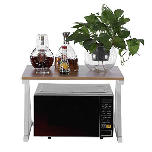 Estink Mikrowelle Regal, Mikrowellenständer Mikrowellenhalter Rack Mikrowellen-Ofenständer, 2 Schichten Küchenregal, 57 x 38 x 38cm(Bianco)