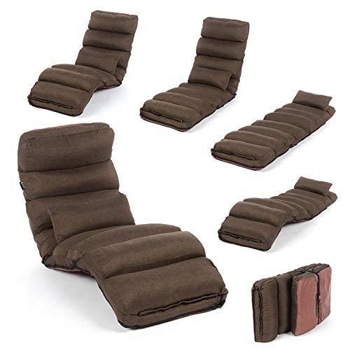 Smoothy Relaxliege klappbare Lounge Liege - 3-in-1 Sessel, Liege, Gästebett flexibel einstellbar; Braun