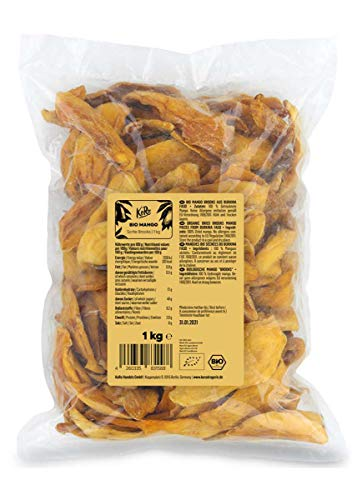 KoRo - Getrocknete Mango Sorte Brooks 1 kg - Aromatische Trockenfrüchte Ohne Zuckerzusatz Schwefelfrei aus Burkina Faso