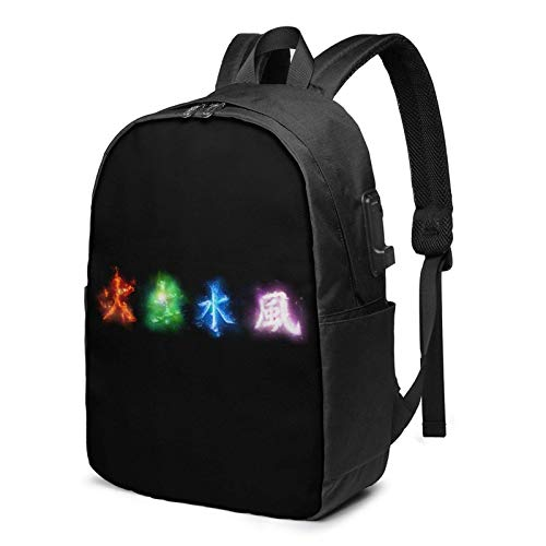 IUBBKI Bolsa para computadora mochila USB Men Women Packable Backpack with USB Charging Port, anti dirt breathable SchoolBag, Book Bags Daypack for Outdoor Cycling Travel, Avatar The Last Airbender Fo