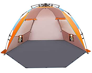 Oileus X-Large 4 Person Beach Tent Sun Shelter - Portable Sun Shade Instant Tent for Beach with Carrying Bag Stakes 6 Sand Pockets Anti UV for Fishing Hiking Camping Waterproof Windproof Orange