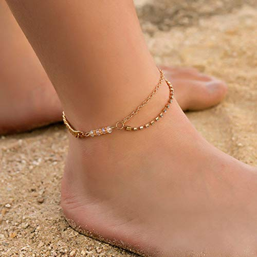 WEIYYY Pulsera de Tobillo Joyería de pie Accesorios de Playa Cadena de pie de Diamantes de imitación de Cristal Tobilleras para Mujer Pulsera de Pierna de Color Dorado, s19031792gold