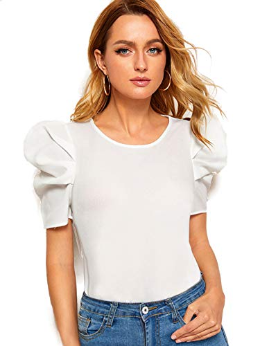 Floerns Women's Round Neck Short Puff Sleeve Keyhole Back Blouse Tops White XS