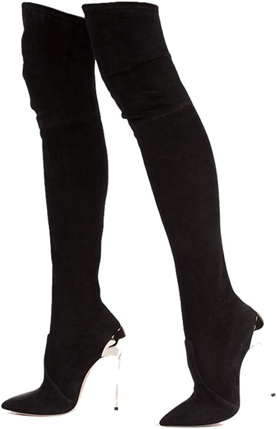 Winter Women Boots Stretch Faux Suede Slim Thigh High Boots Fashion Sexy Over The Knee Boots High Heels shoes