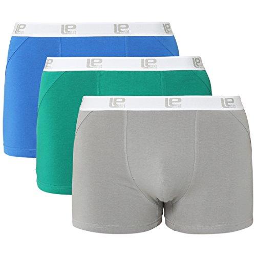 Lower East Herren Boxershorts Retro 3er Pack, Mehrfarbig (Blau/Grün/Grau), Large