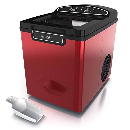Arendo - Eiswürfelmaschine Edelstahl - Eiswürfelbereiter - ice maker maschine - 1,8 Liter - Eiswürfelbereiter - Eismaschine mit Kühlung - Eiswürfel Größen small und large - Status LEDs - ABS- BPA frei