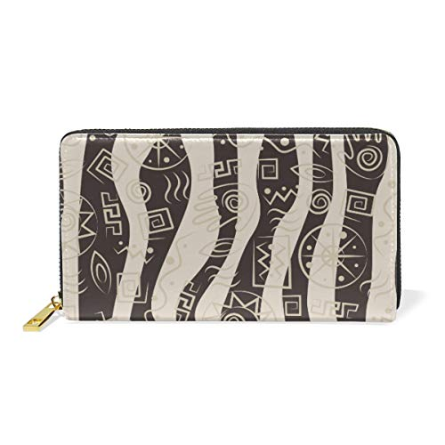 Ethnic Ancient Egypt Sign Wallet for Women Leather Zipper Phone Coin Purse