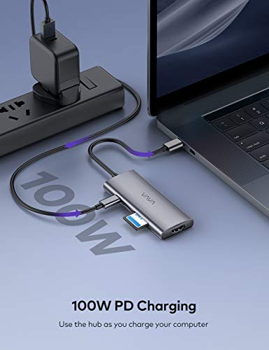 VAVA USB C Hub, 7-in-1 USB C A   dapter for MacBook/Pro/Air (Thunderbolt 3), with 4K USB-C to HDMI, 3 USB 3.0 Ports, SD/TF Cards Reader, 100W Power Delivery Dock for iPad Pro/MacBook/Type C Devices