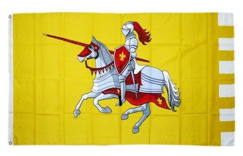 Flagge Fahne Ritter mit Pferd gelb 90 x 150 cm