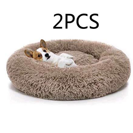 Everley Hutt Deluxe Haustierbett für Katzen Hundebett Luxery Soft Dog Donut Bed Cuddler mit weichem Kissen Round Nesting Cave (Medium(70cm), Hellgrau)