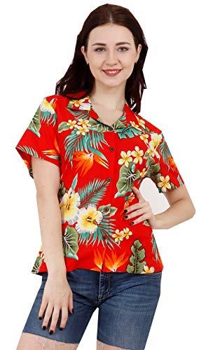 Hawaiian Shirts 46W Womens Flower Leaf Beach Aloha Top Blouse Red XL