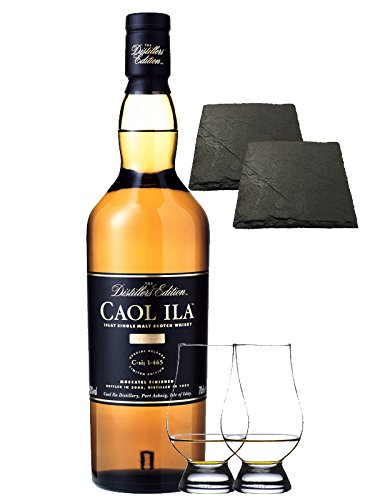 Caol Ila Distillers Edition Moscatel Cask Finish 0,7 Liter + 2 Glencairn Gläser + 2 Schieferuntersetzer quadratisch 9,5 cm
