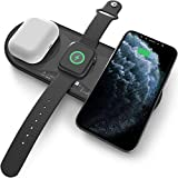 3 in 1 Wireless Charger, Halcurt Wireless Charging Station for Phone, AirPods, Apple Watch, 15W Fast Charging Pad Compatible for iPhone 12/11 Series/XS MAX/XR/XS/X/8/8 Plus