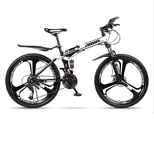 DGAGD Bicicleta de montaña Plegable de 24 Pulgadas para Adultos, una Rueda, Doble Amortiguador, Todoterreno, Bicicleta de Velocidad Variable, Rueda de Tres Cuchillas-Blanco y Negro A_27 velocidades