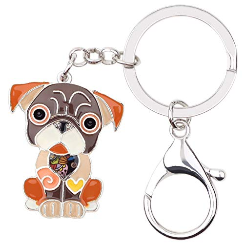 WEVENI Enamel Alloy French Bulldog Pug Dog Key Chains Keychain rings Jewelry For Women Girls Bag Car Pendant (Brown)