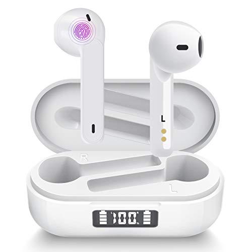 Cuffie Bluetooth Aoslen Auricolari Bluetooth 5.1 Wireless Cuffie Senza Fili Riproduzione di 40 Ore Con Microfoni Integrati Accoppiamento Automatico Tocco Intelligente per Huawei Xiaomi iPhone Bianco