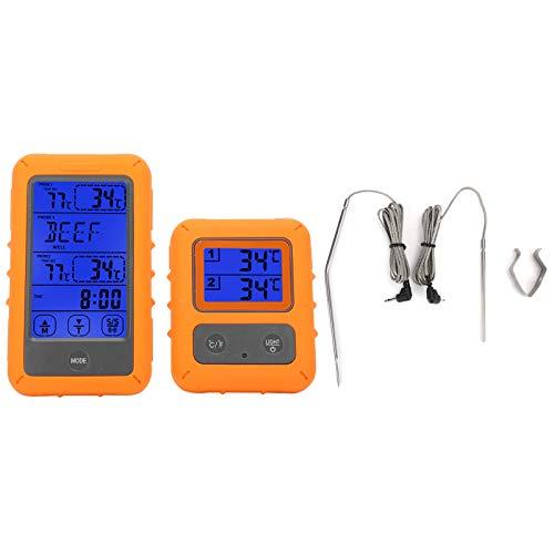 Omabeta Termómetro inalámbrico LCD para Alimentos Control táctil Termómetro Digital para Alimentos Sonda Dual IPX7 Antideslizante Detector Impermeable para Barbacoa