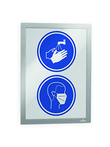 Price comparison product image DURABLE DURAFRAME,  Self-Adhesive Magnetic Frame,  Letter,  Silver,  2-Pack (476823)
