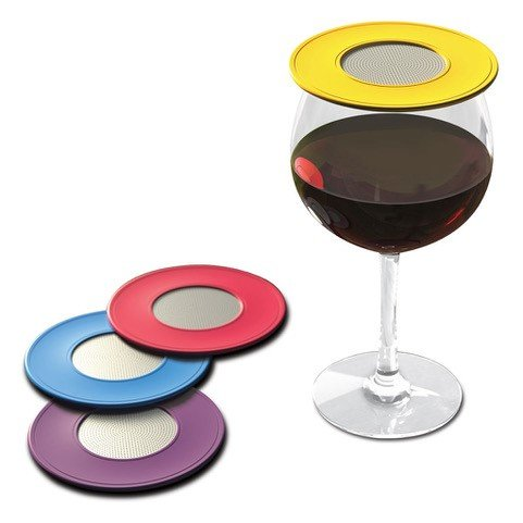 Drink Tops Ventilated Silicone Wine Glass Covers - Weighted Cover with Screen Allows Wine to Breathe...
