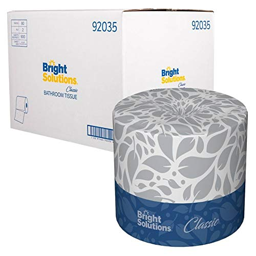 Bright Solutions Classic 2-Ply Toilet Paper (500 Sheet Mega Rolls, Soft and Absorbent, 80 Rolls)