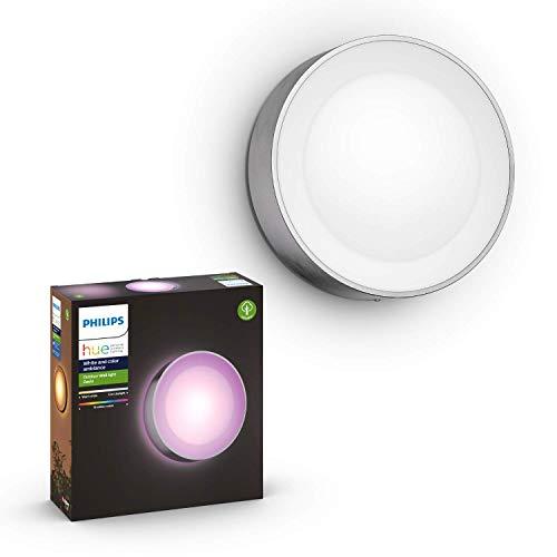 Philips Hue White and Color Ambiance LED Außenwandleuchte Daylo,  dimmbar, bis zu 16 Millionen Farben, steuerbar via App, kompatibel mit Amazon Alexa (Echo, Echo Dot), Edelstahl