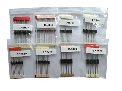 SUNKEE 100 pcs Rectifier Diode Tape kit,1N4148 1N4007 1N5819 1N5399 FR107 FR207 1N5408 1N5822