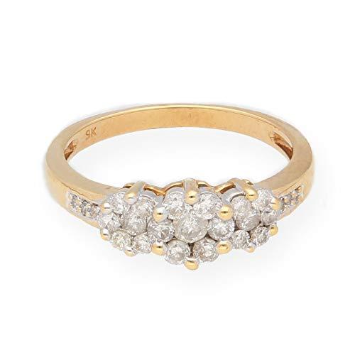 Anello trilogy in oro giallo 9 carati con diamanti da 0,50 kt, misura L 1/2, larghezza massima 6 mm