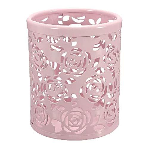 Kacoco Recipiente organizador de lápices de metal con diseño de rosas huecas, color rosa