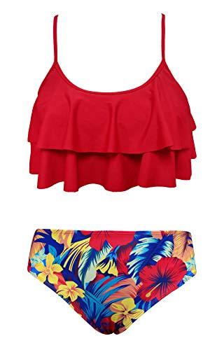 SHEKINI Costumi da Bagno per Donna Bambina Bikini Due Pezzi Madre e Figlia Carino Elegante a Balze Regolabile Halter Top Stampato Bikini Famiglia Beachwea(12-14 Anni,Rosso)