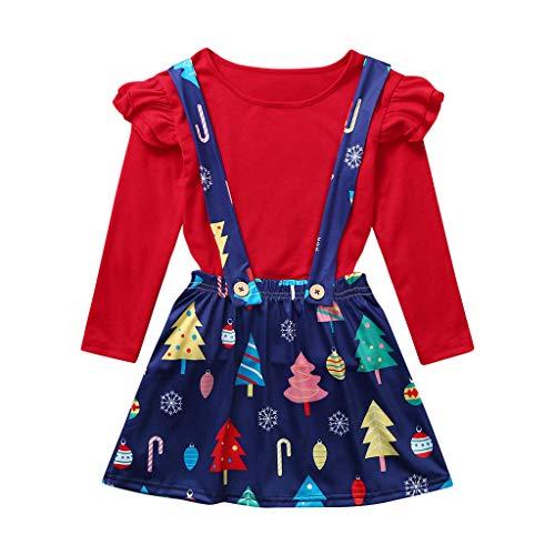 Cuteelf Kinder Langarm Weihnachten Solid Color Rüschen Top T-Shirt + Weihnachtsbaum Print Sling Kleid Zweiteiler Mädchen Weihnachten Solid Color Plissee Top Sling Kleid Set