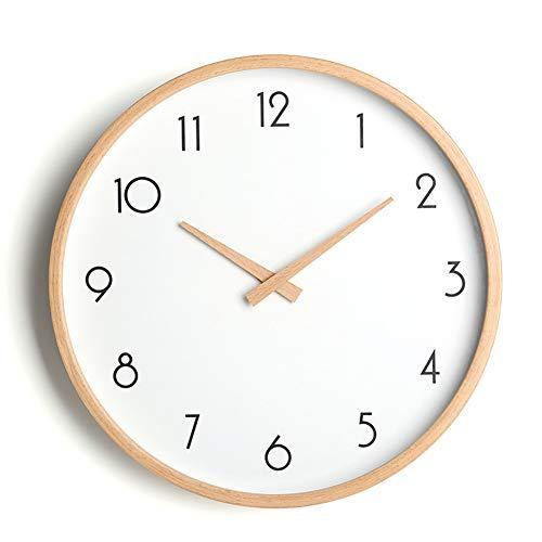 PANCY Wanduhr aus Holz ohne Tickgeräusche, Modern, Lautlos, Geräusch, Natur, 12 Zoll 29cm und 14 Zoll 34cm Ideale Wanduhr (Holz 1, Durchmesser: 12