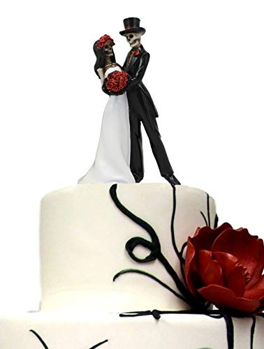 Ebros Day Of The Dead Wedding Dance Skeleton Bride And Groom Holding Red Roses Bouquet Figurine Cake Topper 6.25'Tall Love Never Dies Bridal Party Ceremony Skeletons Lovers