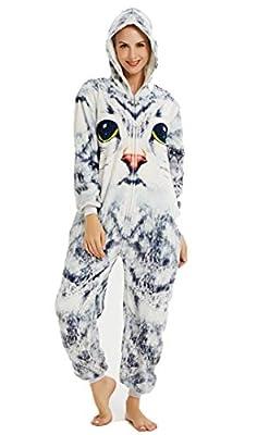 Silver Basic Niños Unicornio Onesie Pijama Franela Cosplay Disfraz Niños Niñas Mujer Kigurumi Animales Franela Monos Unisex-Adulto Ropa de Dormir (L/Altura: 168-177cm, Gato)